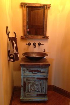 Night stand turned into a sink vanity.