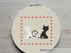 cross stitch pattern cats silhouette black & white by Happinesst