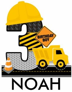 3rd Birthday Cakes For Boys, Boy Birthday, Construction Birthday Invitations, Construction Theme, Baby Vision, Applique Embroidery Designs, Dump Truck, Baby Cards, Paw Patrol