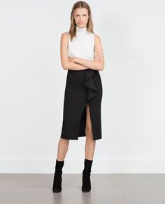Image 1 of PENCIL SKIRT WITH RUFFLE from Zara