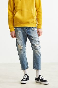 Slide View: One Teaspoon Shredded Blue Tapered Jean New Man Clothing, Urban Outfitters Jeans, Tapered Jeans, Latest Mens Fashion, Destroyed Jeans, Blazer Fashion, Gentleman Style, Moda Online, Vintage Denim