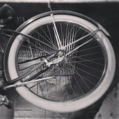 Black And White Rear Back Tire Of An Old Vintage by RedHedgePhotos, $9.99