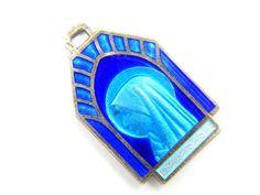 Vintage Blue Glass Enamel Virgin Mary - Our Lady of Lourdes Catholic Medal - Religious Charm - Holy Virgo by LuxMeaChristus