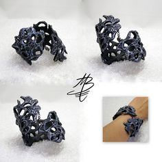 bracelet imitation metal, polymer clay jewelry by Martina Burianova, Czech Republic