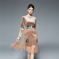 Spring Dress Embroidery Flower Dress Two Piece Casual O-Neck Velvet Dress Knee-Length Long Sleeve A-Line 2017 Dresses