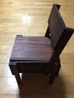 """1/3 miniature chair, """"Sedia"""" originally designed by Enzo Mari. Material: Rosewood"""