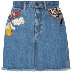 Marc Jacobs Embellished frayed denim mini skirt ($175) ❤ liked on Polyvore featuring skirts, mini skirts, bottoms, denim, blue mini skirt, denim skirt, blue denim mini skirt, embellished mini skirt and short denim skirts
