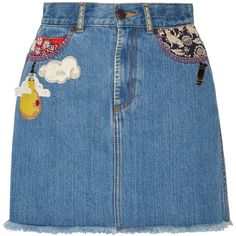 Marc Jacobs Embellished frayed denim mini skirt (1.555 BRL) ❤ liked on Polyvore featuring skirts, mini skirts, marc jacobs, mid denim, blue mini skirt, button skirt, short skirts, a-line skirt and a line mini skirt
