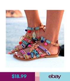 Sandals Beauty Women Bohemian Sandals Flat Flip Flops Tassels Casual Loose Shoes Fashion #ebay #Fashion