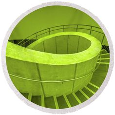 Dali Museum Round Beach Towel featuring the photograph Dali Museum Staircase In Green by Judith Barath
