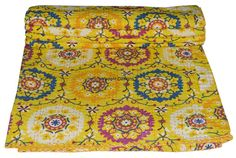 Decorative Quilts & Bedspreads Bedding Industrious Vintage Kantha Quilt Indian Handmade Cotton Bedspread Sashiko Throw Bedding