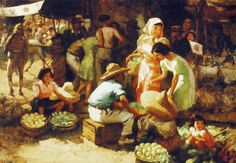 Marketplace during the Occupation (1942), Fernando Cueto Amorsolo, Philippines, Oil on canvas, Collection of National Heritage Board, Singapore. This is a work by Fernando Amorsolo portraying his experiences during the Japanese occupation of the Philippines during the Second World War. This particular scene is extremely mesmerizing--almost like a still life.
