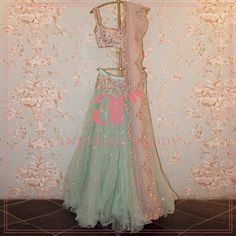A splash of teal and a pop of champagne makes for the perfect pair this summer! Beautiful pink and sea blue color lehenga from Anushree Reddy. Indian Wedding Gowns, Lehenga Wedding, Indian Dresses, Indian Outfits, Indian Attire, Indian Wear, Wedding Dresses, Pink Half Sarees, Pink Color Combination