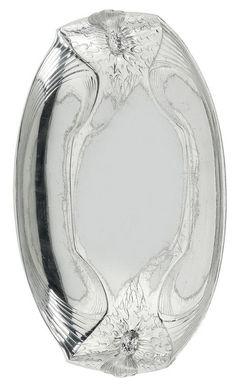Periods & Styles Antique Orivit German Art Nouveau Jugendstil Pewter Art Glass Plate Platter Latest Technology Art Nouveau