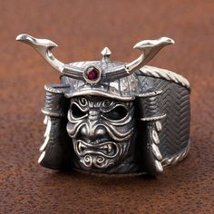 Samurai mask, lavishly worked solid ring 925 Silver Polish: matt / glossy black ring head: 28 x 23 mm in different ring sizes available!  Made by Core47