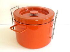 Copco Enamelware Deep Fryer, Dutch Oven, Stockpot, Enamel Pot, Made in Switzerland, Retro Kitchen