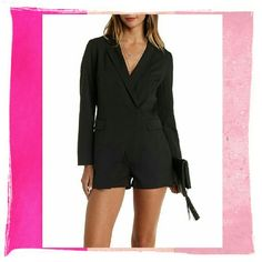 ♪HP♪  Long Sleeved Blazer Romper Long Sleeved Blazer Romper Black  The menswear trend is a longtime fave, but this playful romper takes the cake! Thick woven fabric sculpts a long sleeve blazer with notched lapels that sweep into two hidden snap buttons at the waist, adding wrap appeal atop the stylish, attached shorts below. Flap pockets add handy storage along the waistline.   Fully lined in satin _ Pants Jumpsuits & Rompers