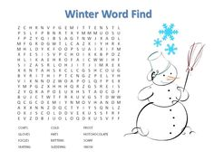 free printable January Wordsearch for kids   Free Printable Winter Word Find