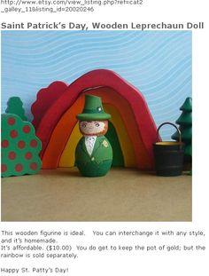 tiny wooden egg Leprechaun