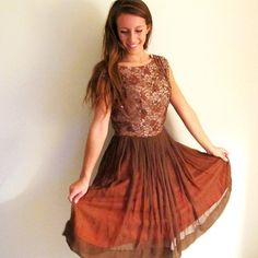 50s Brown Dress, Vintage Party Dress, Chiffon and Lace Dress, Rust Dress on Etsy, $45.00