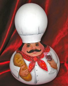Chef Gourd with a glass of good red wine and a by annsoriginals, $69.00
