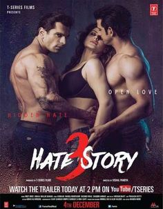 Poster Of Hate Story 3 2015 Hindi 720p Web-DL ESubs - UNCUT Watch Online Free Download Worldfree4u