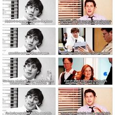Jim Halpert on his first and last day in the office. I cried when he quoted the first episode I'm not even ashamed