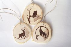 Wood Burned Wildlife Ornaments-Rustic Christmas by MysticWildCraft