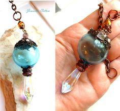 The Witches Ball...Witches Ball/Crystal Point Pendulum Pendant ...Beautiful XL Blue Blown Glass Witches Ball..Baltic Amber & Filigree