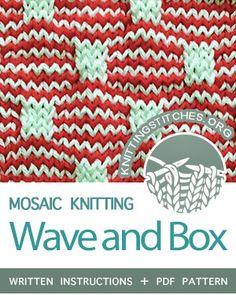 Wave and Box - Knitting Stitches Slip Stitch Knitting, Knitting Charts, Loom Knitting, Knitting Stitches, Knitting Help, Stitch Patterns, Knitting Patterns, Knitting Ideas, Knit Stitches For Beginners