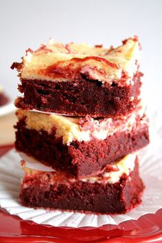 Red Velvet Cheesecake Swirl Brownies. These look absolutely delicious! I'm not a huge red velvet girl but man I could really go for these right now!
