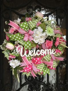Sharyn Kaye's, Welcome Wreath, Spring Wreath, Summer Wreath, Mesh Wreath, Pink and Green Wreath, Mesh Wreath, Spring Front Door, by SharynKayes on Etsy