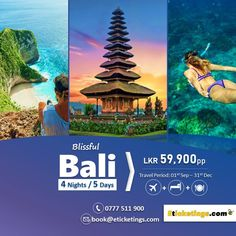 Looking for a holiday to Bali?  We have great deals starting from LKR.59,900pp  Book with eTicketings.com and save! Book before 15th August 2018  Package Includes: Return Air ticket & 4 Nights Accommodation on 3-Star Hotel with Daily Breakfast.  Travel Period: 1st Sep - 31st Dec 2018  📱Call Now: 0777 511 900 📧Email: book@eticketings.com Air Ticket Booking, Air Tickets, International Flight Tickets, Bali, Travel Agency, Great Deals, Budgeting, Period, Packaging