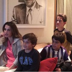 Queen Rania and Prince Hashem with some of his friends watching the Classico , November 21