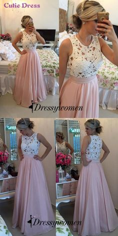2016 prom dresses, long prom dresses, pink long chiffon prom dresses with white lace top