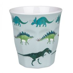 This melamine cup is perfect for outdoor summer picnics and children at home. The sage blue Dinosaur design features the Diplodocus, Stegosaurus, Triceratops, flying Pterodactyls and the famous T-Rex!