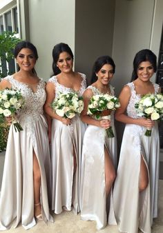 2016 Lace Appliques Bridesmaid Dresses, A-Line Side Slit