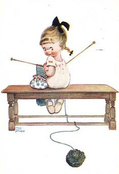 Vintage picture of a little Girl knitting