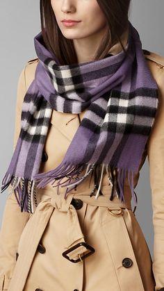 Check Cashmere Scarf-Purple Aster Check | Burberry