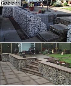 gabion wall with back of gabions filled with concrete, front face hand stacked rocks http://www.gabion1.co.uk
