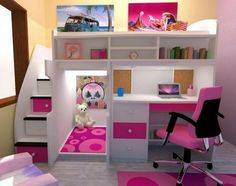 Pink and white loft bed. Pink bedroom.