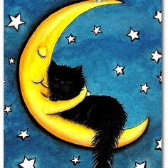 Sweetest of Dreams Moon Hugging Black Cat- Fine Art Print by AmyLyn Bihrle adorables funny graciosos hermosos salvajes tatuajes animales Crazy Cat Lady, Crazy Cats, Cool Cats, Image Chat, Cat Drawing, Moon Drawing, Cat Art, Cats And Kittens, Cat Lovers