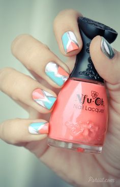 Geometric pastel nails. Peach and turquoise and white and silver. Maybe change whit to navy for Jess's wedding