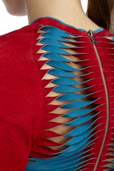 by Madeline Haake Cutouts Zipper Suede Red Blouse Designs Silk, Blouse Patterns, Shirt Designs, Dress Designs, Sari Design, Couture Details, Fashion Details, Red Fashion, Fashion Sewing