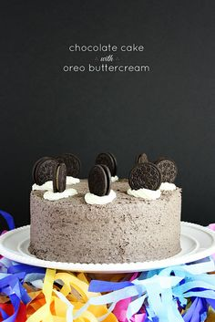 Chocolate cake with Oreo buttercream frosting.