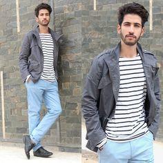 Milanoo Blue Sky, Yesfor Grey, Milanoo Pants #fashion #mensfashion #menswear #mensstyle #style #outfit #ootd