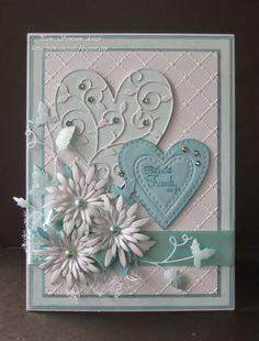 "Pam Simpson: Pam's Crafts - That`s What Friends Are For - 3/23/15.  (Memory box.. Vidalia  Heart. Open studio.. Glorious Hearts.  Cross Stitch my heart.  Grape Vine.  Heartfelt Creations..Delicate Aster. Sue Wilson ""Heart Lattice"" EF. Pearls/Gems/Ribbon."