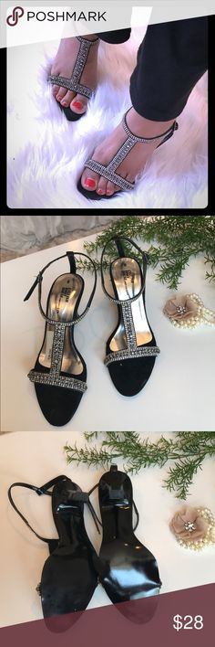 Black rhinestone short heels sandals party shoes Black rhinestone short heels sandals party shoes Shoes Sandals