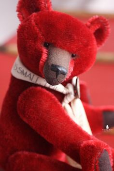 Theophile 12'' hand dyed red mohair teddy bear by marionbearmaker