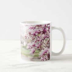 Pretty Pink Mongolia Tree Blossoms Personalized Coffee Mug